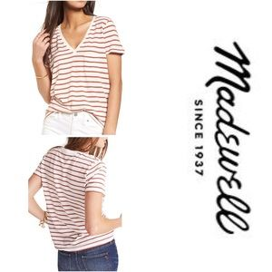 Madewell Whisper Cotton Stripe V-Neck Tee